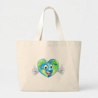 Grand Tote Bag Les pouces de coeur de jour de la terre du monde