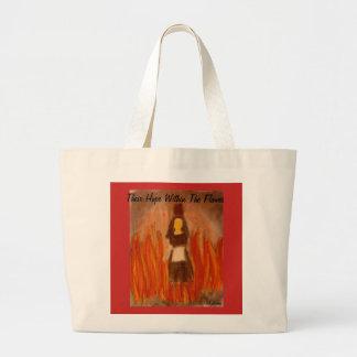 Grand Tote Bag Leur espoir dans l'art de flammes