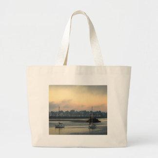 Grand Tote Bag Lever de soleil et bateaux