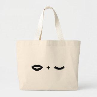 Grand Tote Bag Lèvres + Graphique de Fourre-tout de mèches
