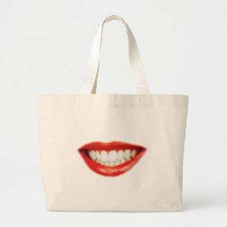 Grand Tote Bag Lèvres rouges