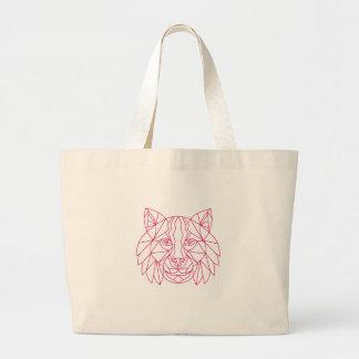 Grand Tote Bag Ligne mono de tête de chat sauvage de Lynx