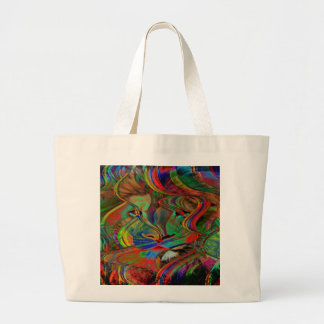 Grand Tote Bag Lion abstrait