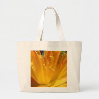 Grand Tote Bag Lis tigré jaune-orange