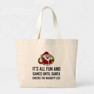 Grand Tote Bag Liste vilaine de contrôles de Père Noël