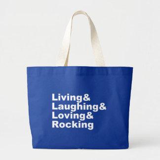Grand Tote Bag Living&Laughing&Loving&ROCKING (blanc)