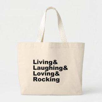 Grand Tote Bag Living&Laughing&Loving&ROCKING (noir)