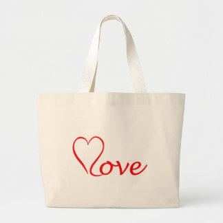 Grand Tote Bag Love coeur sur l'arrière-plan blanc