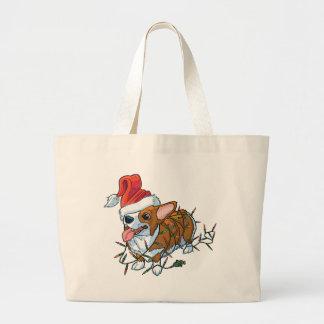 Grand Tote Bag Lumières de Noël de Noël de chiot de corgi de