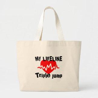 Grand Tote Bag Ma ligne saut triple de la vie folâtre des