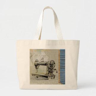 Grand Tote Bag Machine à coudre vintage