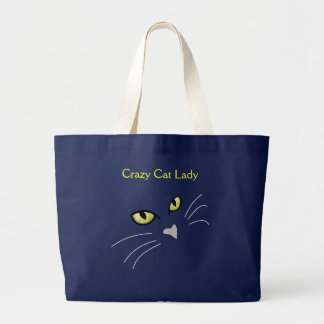 Grand Tote Bag Madame folle Custom Fourre-tout de chat de visage