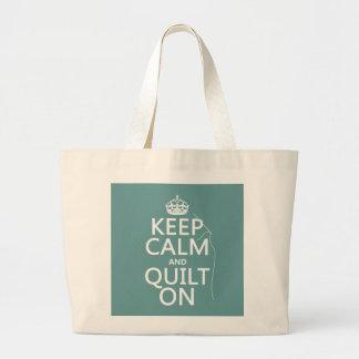 Grand Tote Bag Maintenez le calme et l'édredon dessus -