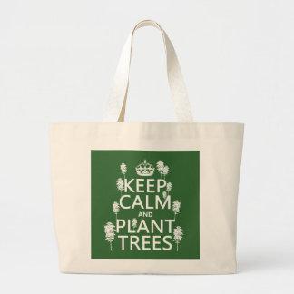 Grand Tote Bag Maintenez les arbres calmes et de plante (toutes