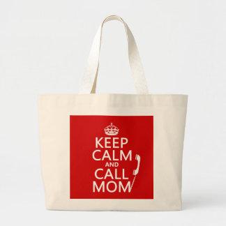 Grand Tote Bag Maintenez maman calme et d'appel - toutes les