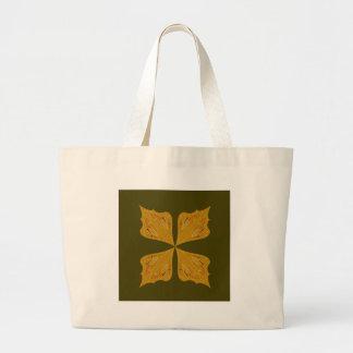 Grand Tote Bag Mandala d'or sur l'olive