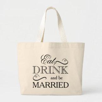 Grand Tote Bag Mangez, boisson et soyez marié
