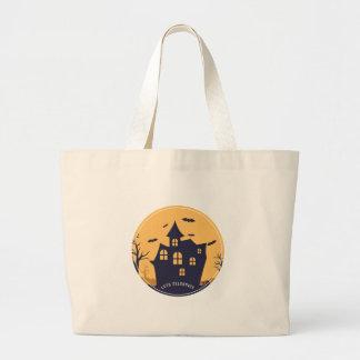 Grand Tote Bag Manoir éffrayant et battes de Halloween