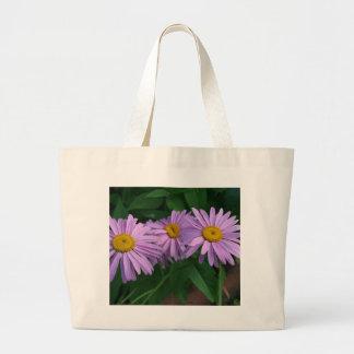Grand Tote Bag Marguerites peintes colorées par lavande