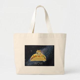 Grand Tote Bag meme de taco de l'espace de doge