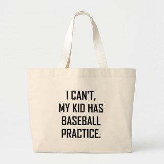 Grand Tote Bag Mon enfant a la pratique en matière de base-ball