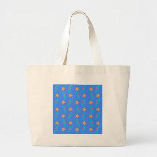Grand Tote Bag Motif bleu d'hippocampes et d'étoiles de mer
