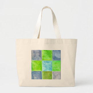 Grand Tote Bag Motif de bleu et de vert