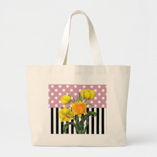 Grand Tote Bag motif de point jaune de polka de tulipe