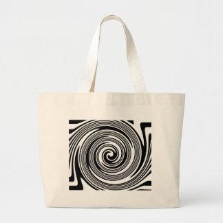 Grand Tote Bag Motif de tourbillonnement noir et blanc