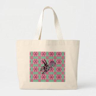 Grand Tote Bag Motif géométrique de crâne rose de dinosaure
