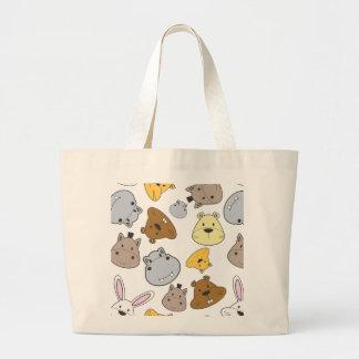 Grand Tote Bag Motif mignon de portrait d'animaux de bande