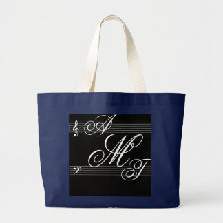 Grand Tote Bag Musiciens dans le logo de monogramme d'amour