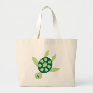 Grand Tote Bag Natation de tortue verte