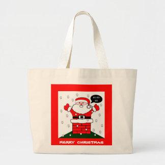 Grand Tote Bag Noël Père Noël Ho Ho Ho