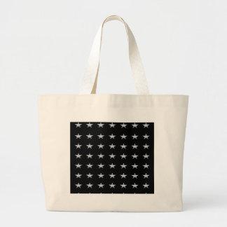 Grand Tote Bag Noir d'étoiles chanceuses avec la conception