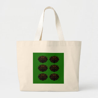 Grand Tote Bag Noir vert d'Eco d'éléments de conception