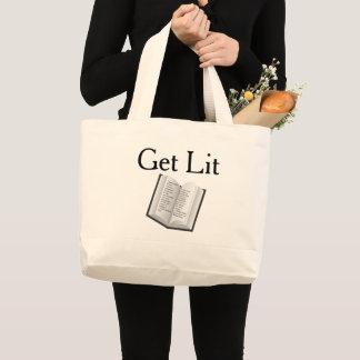 Grand Tote Bag Obtenez le Lit (vraies citations aux pages)