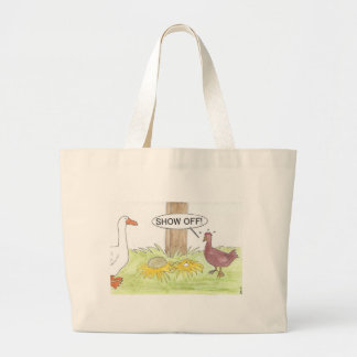 Grand Tote Bag Oie d'or contre le poulet
