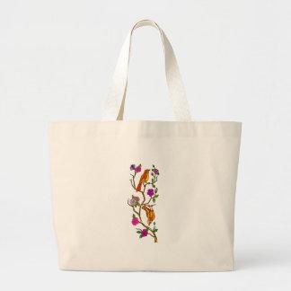 Grand Tote Bag Oiseau sur le bas polygone de fleurs de cerisier
