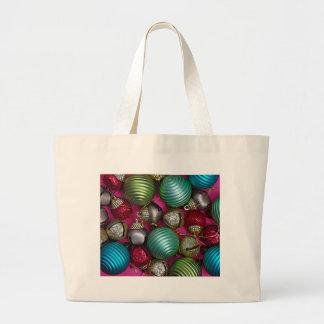 Grand Tote Bag Ornements colorés de Noël