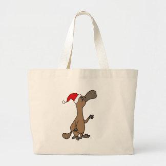 Grand Tote Bag Ornithorynque Canard-affiché drôle dans Noël de