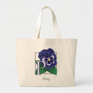 Grand Tote Bag P pour le monogramme de fleur de pensée