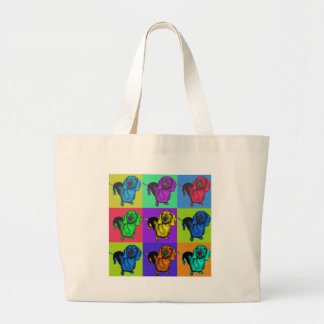 Grand Tote Bag Panneaux de teckel d'art de bruit