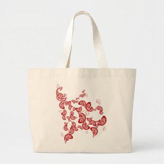 Grand Tote Bag Paon floral rouge chinois chic oriental élégant