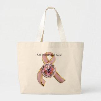 Grand Tote Bag Papillon de conscience de cancer du sein