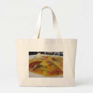 Grand Tote Bag Pâtes faites maison avec la sauce tomate, oignon,