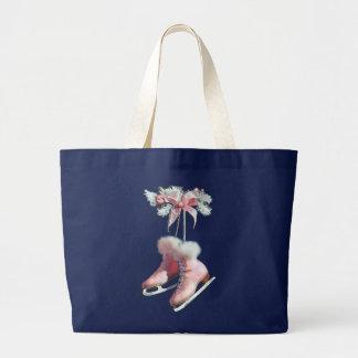 Grand Tote Bag PATINS de GLACE dans le ROSE par SHARON SHARPE
