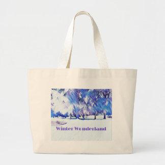 Grand Tote Bag Paysage artistique du pays des merveilles blanc