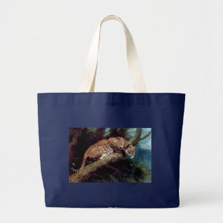 Grand Tote Bag peinture antique animale de chat sauvage de