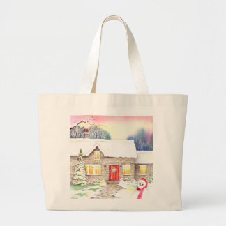 Grand Tote Bag Peinture d'aquarelle de cottage de Milou